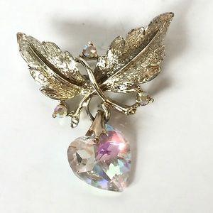 Vintage Coro Silver Crystal Heart Leaf Brooch